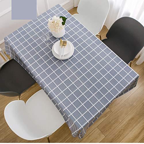 DJUX Tovaglia per Decorazioni per la casa Blu Plaid Moderno e Minimalista per Uso Domestico in PVC tovaglia Impermeabile e Resistente agli Oli tavolino tovaglia dell'hotel