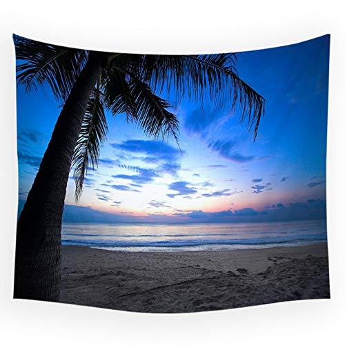 N/A Impresión 3D de tapices Mar Playa Muelle Paisaje árbol de Coco Atardecer Luna patrón Tapiz Sala de Estar Fondo Dormitorio Arte Pared Manta Alfombra de Playa Regalo de Arte doméstico