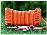 QHY Cuerda De Escalada con Mosquetones 12mm Cuerda Auxiliar De Escalada De Nailon para Rescate De Incendios,Montañismo,Senderismo (Color : Orange, Size : 60m*12mm)