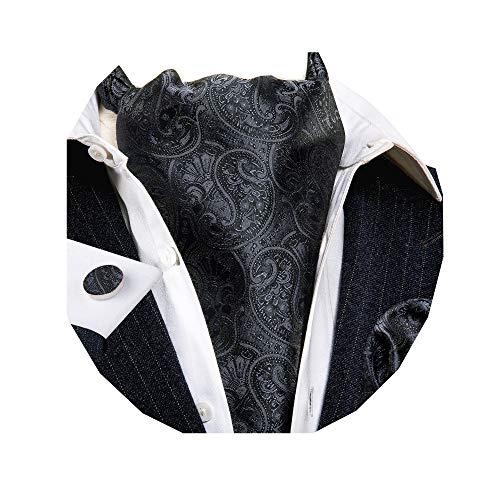 Barry. Wang Mens Solid Black Paisley Ascort Silk Ascort Hankerchief Cufflinks Set