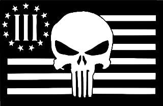 UR Impressions American Flag 3 Percenter Punisher Decal Vinyl Sticker Graphics Car Truck SUV Van Wall Window Laptop|White|7.4 X 4.5 Inch|URI175