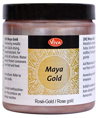 Viva Decor®️ Maya Gold (Rosé Gold, 250 ml) Acrylfarbe mit Metallic Effekt - Malfarbe - Acryl Farben für Holz, Pappe, Beton, Papier, Leinwand UVM.
