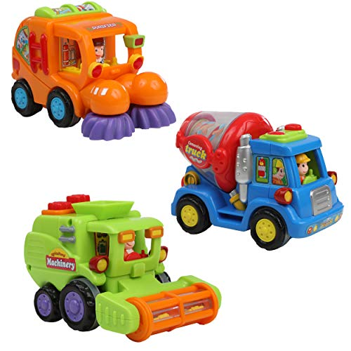IQ Toys Push & Play Vehicles for Toddlers, Kids, Boys 3 Pack Friction Powered Action City Construction Engineering Playset with Cement, Sweeper Cleaning, and Harvesting Truck