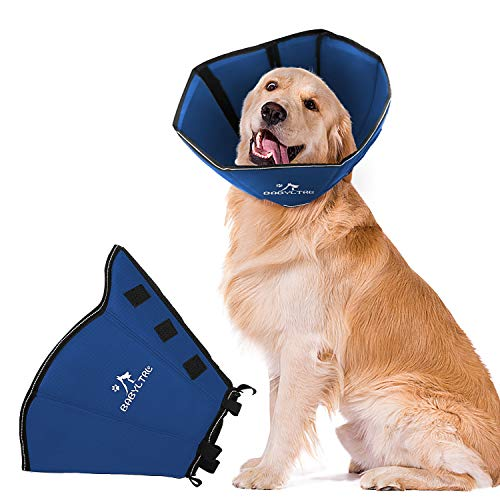 BABYLTRL Dog Cone Collar for After Surgery, Soft Pet Recovery Collar for Dogs and Cats, Adjustable Cone Collar Protective Collar for Small Medium Large Dogs Wound Healing (Large, Dark Blue)