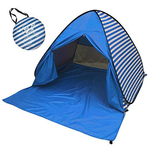 MOONBROOK Tenda Da Spiaggia A Strisce Outdoor Pop Up Cottage Tenda Da Spiaggia UV Parasole Famiglia Campeggio Esterno Pesca Picnic Escursionismo