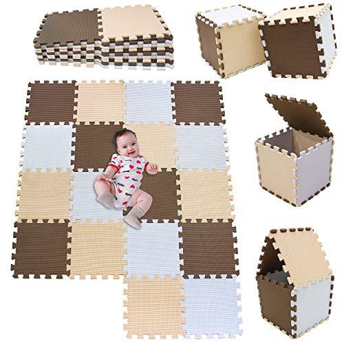 MSHEN18 Piezas Alfombra Puzzle Bebe con Certificado CE y certificación EVA | Puzzle Suelo Bebe | Puede ser Lavado Goma eva,Tamaño 1.62 Cuadrado,blanco-marrón-beige-010610g18