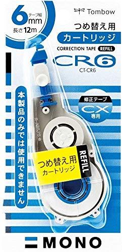 トンボ鉛筆 修正テープ MONO モノCXカートリッジ 6mm CT-CR6 【× 4 個 】