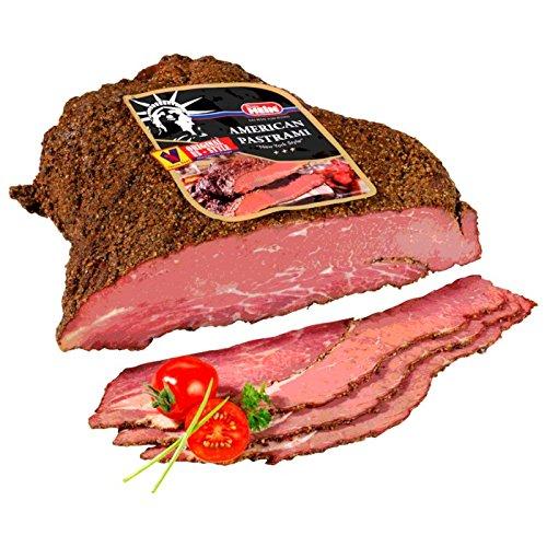 Originale Rinderbrust Pastrami Brisket New York Style gepökelt, gegart & geräuchert aus pikant zubereiteter Rinderbrust - Rindfleisch, Pastrami - 100 % pure beef! 1 kg Original von Dieter Hein