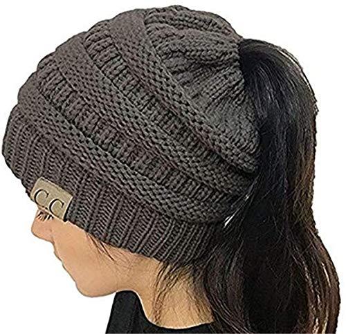Yaogroo Damen Mädchen BeanieTail Gestrickt verdicken Hut Mit Zöpfen Loch Loop Strickschal Strickmütze Wintermütze (Grau1)