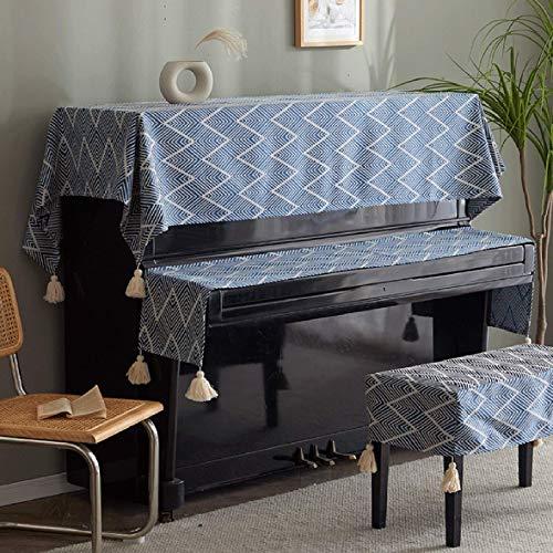 Cubierta de Piano Vertical Cubierta Simple para el hogar Toalla Cubierta de Polvo de Piano eléctrico Guzheng Guqin Teclado de Piano electrónico Zapatero Cubierta de decoración Segura (Color: Azul, T