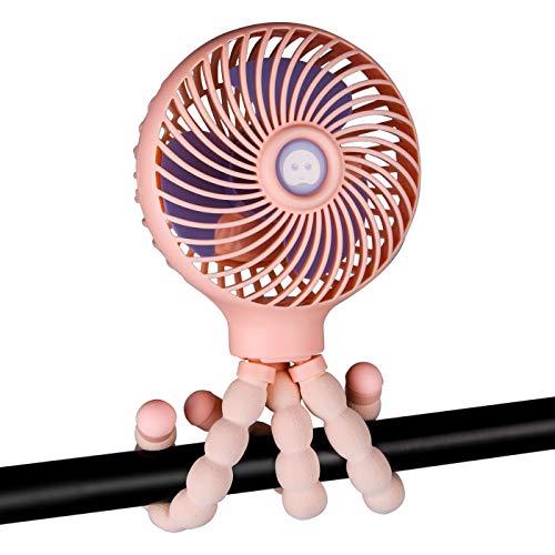 Mini-Handventilator für Kinderwagen, tragbar, mit flexiblem Stativ, wiederaufladbarer USB-Ventilator, 3 Geschwindigkeiten, für Camping, Autositz, Krippe, Fahrrad, Laufband, Fitnessstudio (Pink)