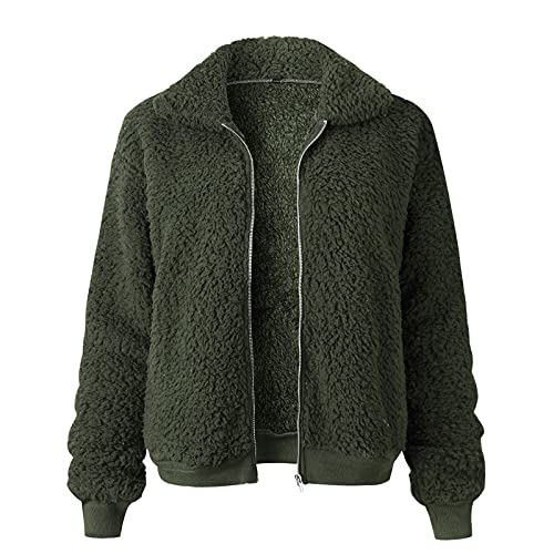 Women's Lapel Zip Up Faux Shearling Shaggy Coat Long Sleeve Solid Color Jacket Outerwear