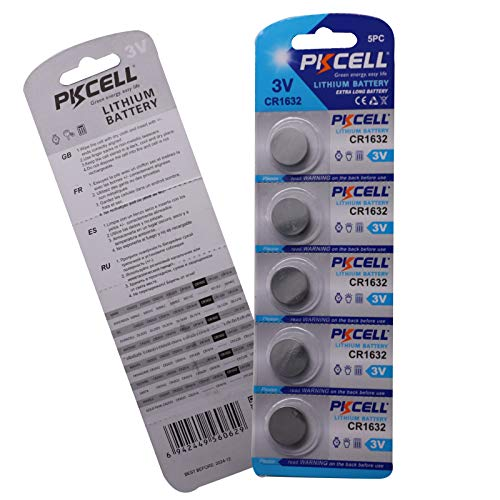 PKCELL 5 Count CR1632 Battery Lithium 3v Coin Cell Battery for Garmin Vivofit Jr Key Fob Replacement