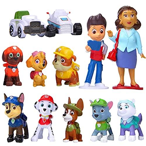Paw Patrol Tortenfiguren, 12Stücke Paw Patrol Mini Figuren Tortendeko, Paw Patrol Mini Figuren, Cake Topper, Party Kuchen Dekoration Lieferungen