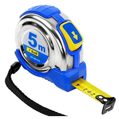 S&R Cinta métrica 5,0 m x 19 mm, caja de acero inoxidable, clip de cinturón, banda de nylon, Flexometro PROFESIONAL