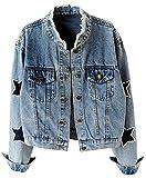 KEDERA Women's Star Embroidered Rivet Pearl Denim Jacket Coat (Blue, X-Small)