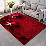 Sleepwish Red Rose Area Rug 3D Rose Ribbon Bow and Hearts Glitter Valentine's Day Indoor Plush Fluffy Rugs Flower Stylish Home Decor (4' x 6')