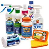 Hot Tub Spa Cleaning Supplies Kit: Shell Wax, Spa Cover Protectant, Filter Cartridge Cleaner, Pillow & Cabinet Cleaner, Spaange Scrub Pads, Spa System Flush, ZorbO Scum Absorber