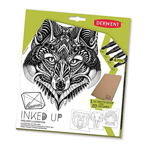 Derwent Graphik Line Makers Inked up Set, Includes 4 Line Maker Pens and Sketchbook with 20 Outlines (2302322)