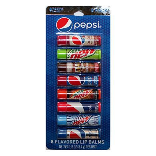 Taste Beauty (1) Party Pack Pepsi - 8pc Soda Flavored Lip Balm Sticks - Flavors: Cherry Vanilla, Mountain Dew, Mug Root Beer, Wild Cherry, Livewire, White Out, Diet - Net Wt. 0.12 oz Each Stick