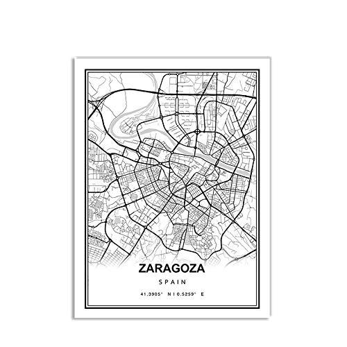 Impresión De Lienzo,Blanco Negro Mapa De La Ciudad Wall Carteles De Arte, Zaragoza, Minimalismo Moderno No Tejido Mural Cartel Cuadro, Lienzo Pinturas Nórdicas Foto Y Grabados Cuadros para Sala De