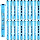 60 Piezas Permanente Barras de Pelo de Plástico Bigudies Pelo sin Calor Permanente Rulos de Pelo Herramientas de Peluquería (Azul, 0,35 Pulgadas)