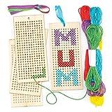Baker Ross- Kit de Punto de Cruz para Principiantes, Juego de Bordado con Hilo para niños (4 Unidades), Multicolor, 4 Pack (AR141)
