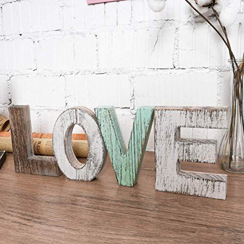 Decoración de la pared de los signos de amor de madera, bloques de madera, letras rústicas recorte de la casa de la pieza de la pieza de la casa de la casa, regalo para San Valentín, Acción de gracias