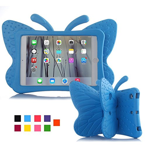 iPad mini 4 case, Leebay Non-toxic Light EVA iPad mini case, Kids-use 3D Cartoon Butterfly ipad mini 4 case, Shockproof Cover with Stand for kids (Blue)