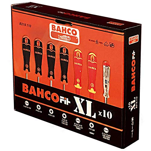 Bahco B219.110 Juego de Destornilladores, Negro, Estandar