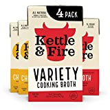Beef and Chicken Cooking Broth by Kettle and Fire, 32oz For Cooking, stock, Keto Diet, Paleo Friendly, Whole 30 Approved, Gluten Free, with Collagen, Protein (Pack of 4)