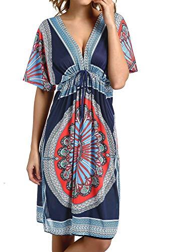 Avacoo Damen Strandtuch V Ausschnitt Blumen Sarong Midi Kleid Pareos Marokko Navy