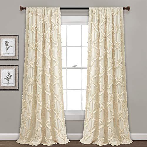 "Lush Decor, Ivory Ruffle Diamond Curtains Textured Window Panel Set for Living, Dining Room, Bedroom (Pair), 95"" x 54, 95"" x 54"""