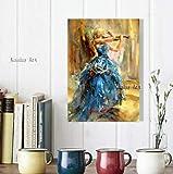 DOUFU Art Handgemaltes Ölgemälde,Von Hand Bemalt Moderne Geige Mädchen Öl Gemälde Auf Leinwand Wand Kunst Bilder Für Das Leben Winkler Home Decoration Blauen Rock Violine Studio-75...