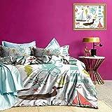 Adorise Cubierta del edredón en Colores Pastel Elementos Marinos Verano Ropa de Cama Disfrute de un sueño reparador 's - Tamaño Twin