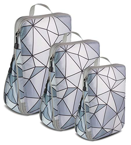 Compression Luggage Cubes for Traveling Travel Organizer Packing Travel Organizer Set of 3 Cube Bags Unique amp Lovely Design Durable Quality Perfect as a Gift Grey Puzzles