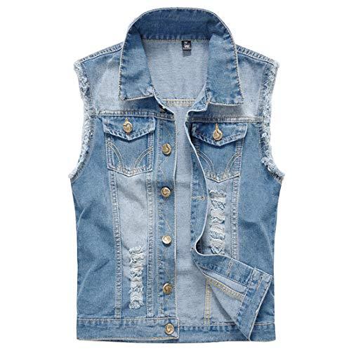 Mens Casual Denim Vest Sleeveless,Vintage Jean Vest Button Down Light Blue