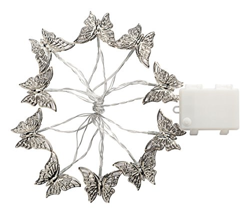 Cole and Bright Batterie fonctionnant Guirlande lumineuse LED avec 10 silbrigen Papillons, plastique, argent 18581