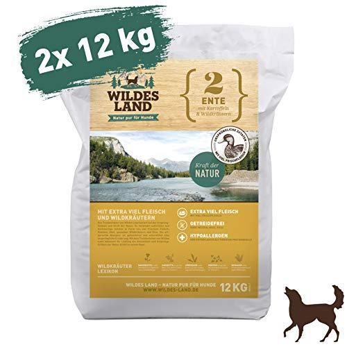 Wildes Land | Trockenfutter für Hunde | Nr. 2 Ente | 24 kg | mit Kartoffeln und Wildkräutern | Glutenfrei & Hypoallergen | Extra viel Fleisch | Alle Hunderassen | Beste Akzeptanz und Verträglichkeit