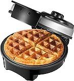 Piastra per Waffle Belga Aicook, Macchine per Waffle con Controllo della Temperatura, Maffle Maker Americana, Indicatori Luminosi, Rivestimento Antiaderente, Avvolgicavo, Acciaio Inossidabile