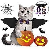Fansport 5 Pcs Halloween Ropa para Mascotas, Alas De Murciélago para Mascotas para Perros y Gato con 4 Collares Bowtie para Halloween Pets Party Ropa De Cosplay
