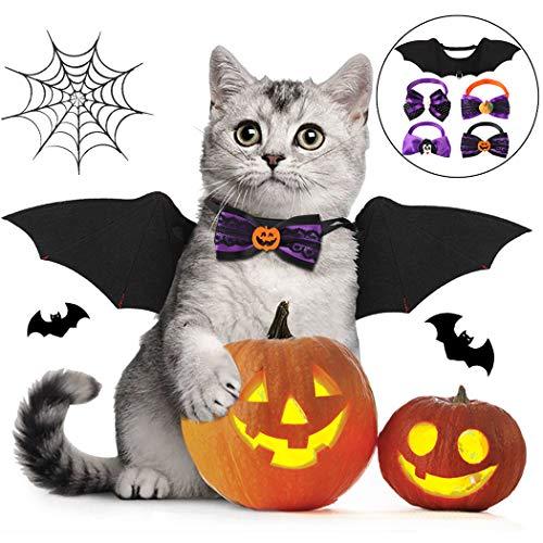 Fansport 5Pcs Haustier Fledermaus Kostüm,Halloween Katze Kleidung, Pet Bat Wing Set Kreatives Süßes Katze Kleidung Hundekostüm mit 4 Bowtie-Halsbändern