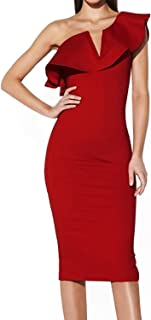 Sunlen Women's One Shoulder Slit Long Sleeve Bodycon Dress Club Night Out for Special Occasion SL1BH5768