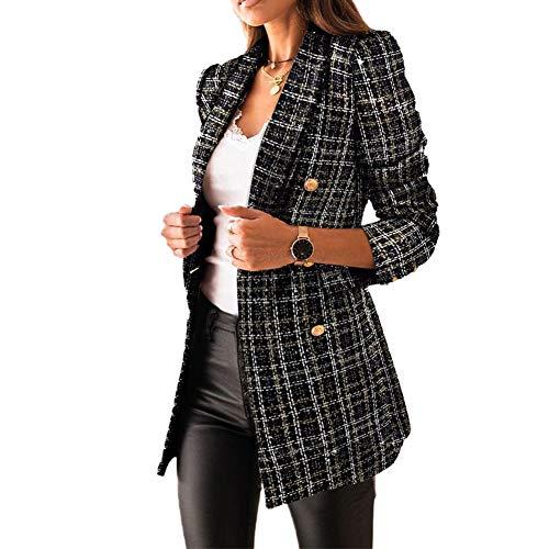 Mujer Blazer con Solapa de Doble Botonadura,Chaquetas de Traje a Cuadros Moda de Primavera y Otoño,Slim Fit Traje Corto de Manga Larga,Tops de Oficina de Trabajo,Elegante Abrigo Cárdigan Negro XL