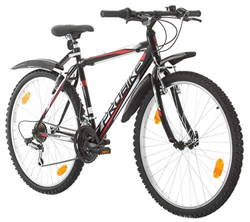 Multibrand PROBIKE 26 Zoll Mountainbike Shimano 18 Gang, Herren-Fahrrad & Jungen-Fahrrad, geeignet ab 165-183 cm (Schwarz+Schitzbleche).