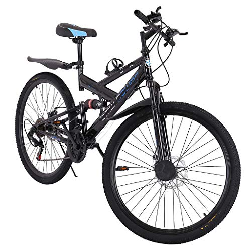 XXY Männer Fahrrad Mountainbike Pedal 21-Gang-Fahrrad Fully Mountainbike 26in (Color : Black, Size : 150x25x (59-70) cm)
