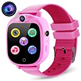 PROGRACE Kids Smart Watch Digital Camera Watch with Games, Music Player, Pedometer Step Count, FM Radios, Flashlights and 1.5 inch Touch LCD for Boys Girls Birthday Pink