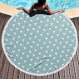 Coperta da spiaggia rotonda con motivo a cuori, idea regalo per San Valentino con sfondo blu...