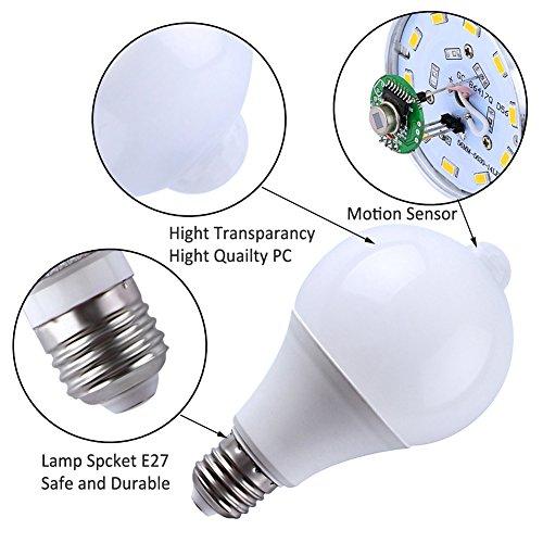 ELEOPTION E27 LED Motion Sensor Lamp Infrared PIR Motion Sensor Lamp Auto Switch Stairs Night Lights Energy Saving for Lobby Carport Hallway Security Decoration (9W 810Lumens, Warm White 3000K)