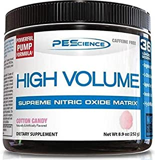 PEScience High Volume Caffeine Free Pump Pre Workout, Cotton Candy, 252 Gram …